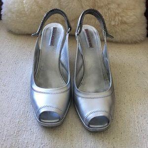 Silver Prada open- toed wedged sling- back